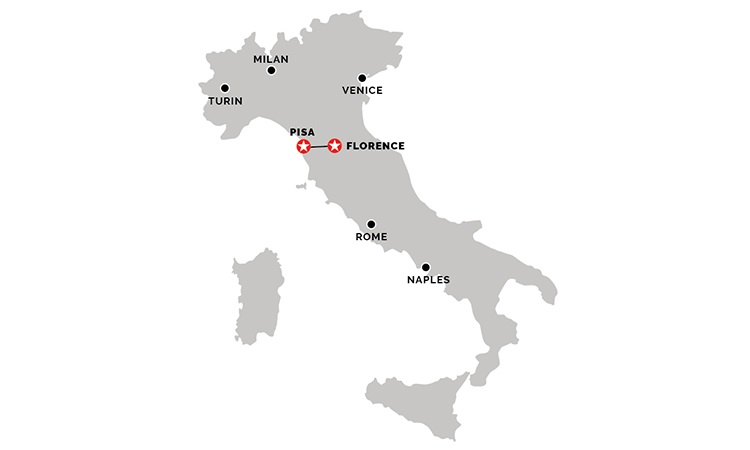 Map of Florence to Pisa