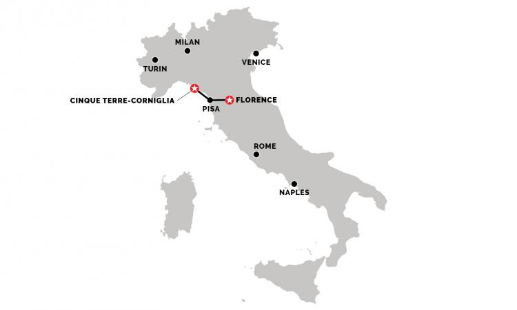 Train from Florence to Corniglia (Cinque Terre)