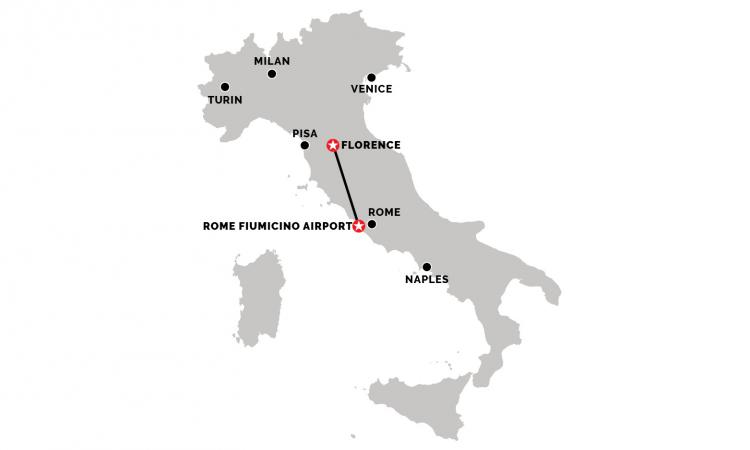 Train from Florence to Rome Fiumicino Airport