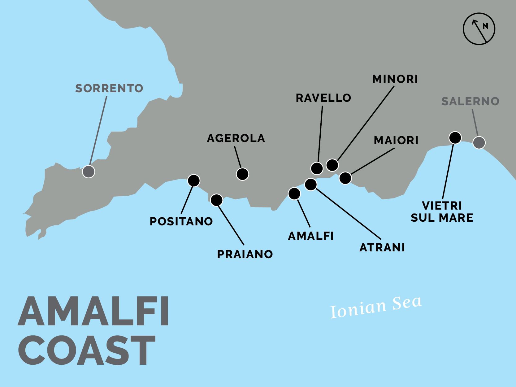 amalfi coast map. how to get from naples to positano and the amalfi coast