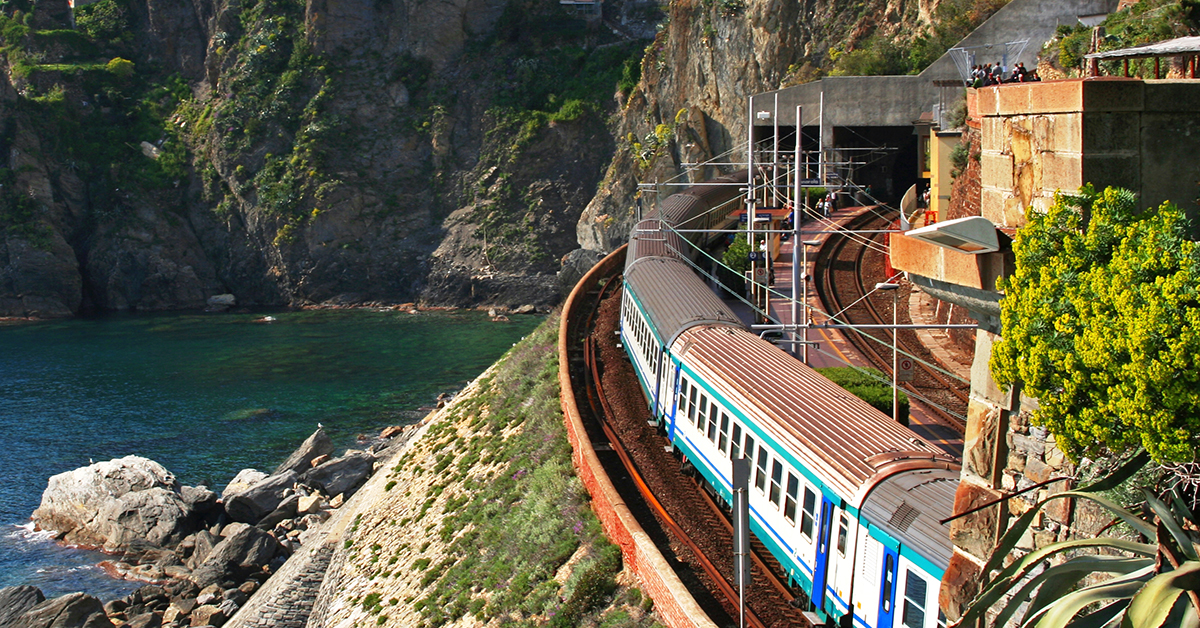 Cinque Terre. Train at station Manarola