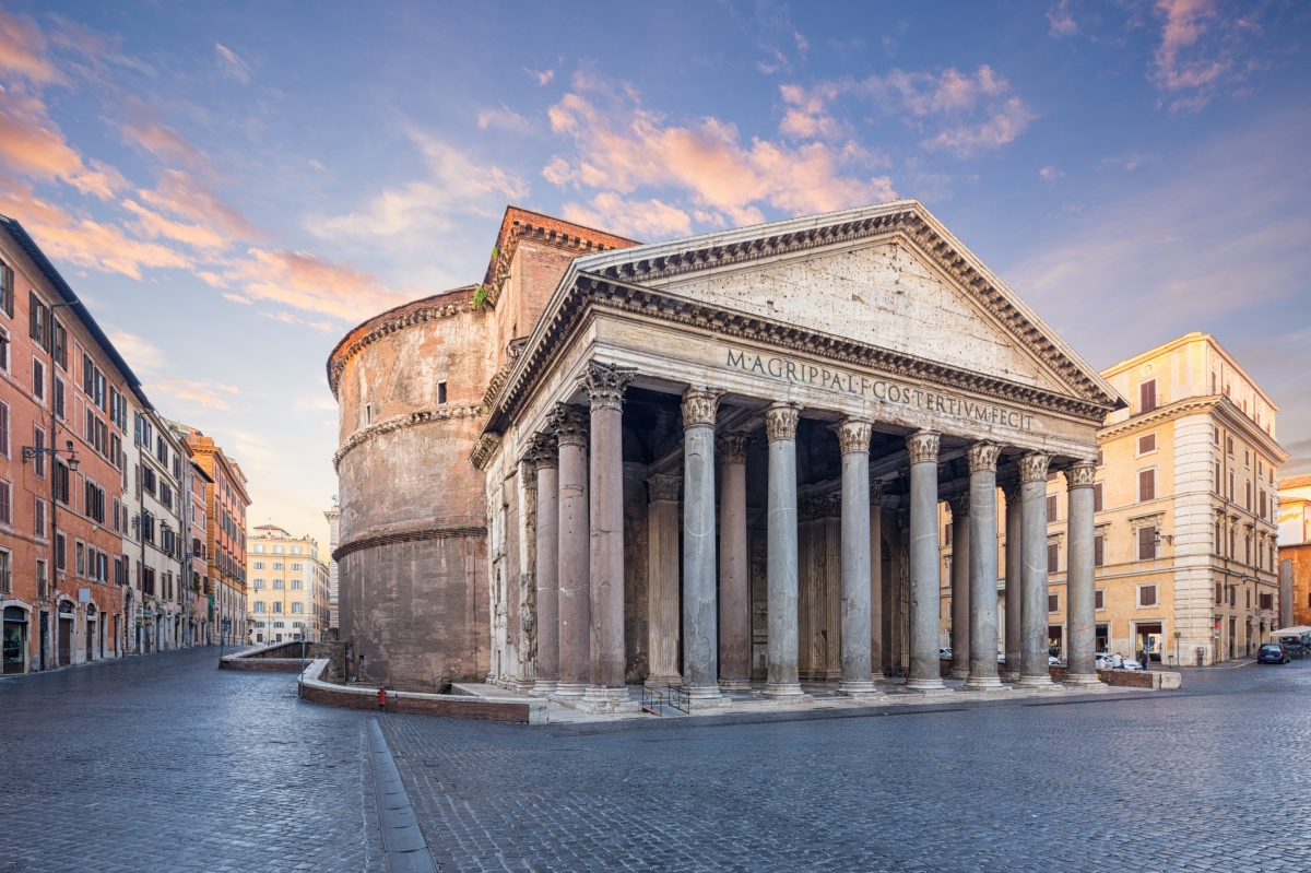 the Pantheon in Rome at sunrise.