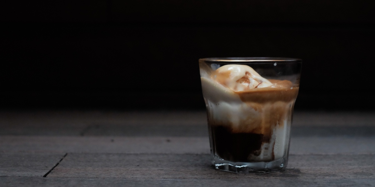 Caffe affogato. Iced coffee and gelato