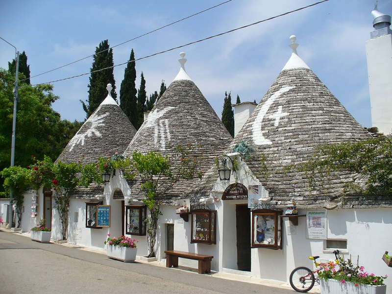 The UNESCO site of the cone-roofed trulli in the town of Alberobello, Apulia, Italy
