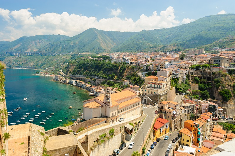 Panoramic view of Scilla seen from The Ruffo Castle, Calabria, Italy