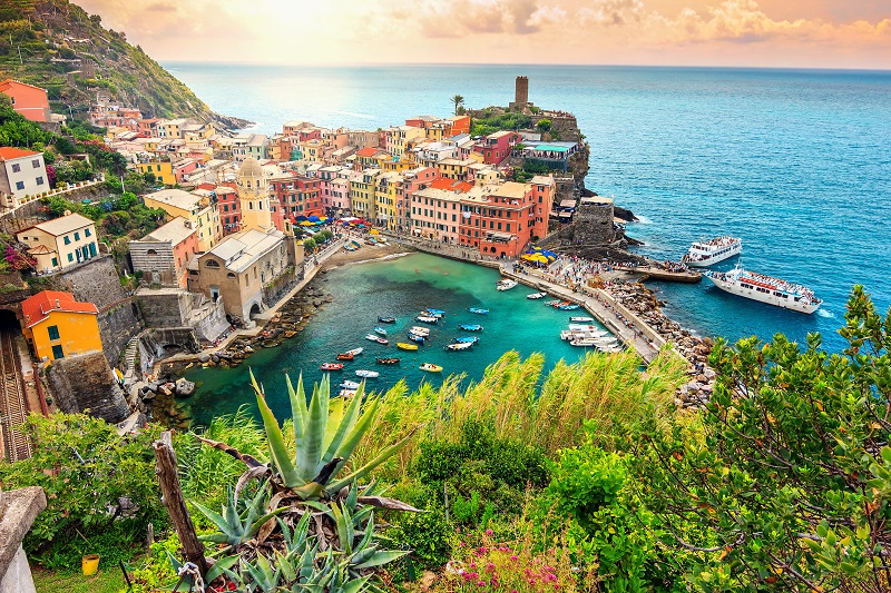 Panorama of Vernazza and suspended garden, Cinque Terre National Park, Liguria, Italy