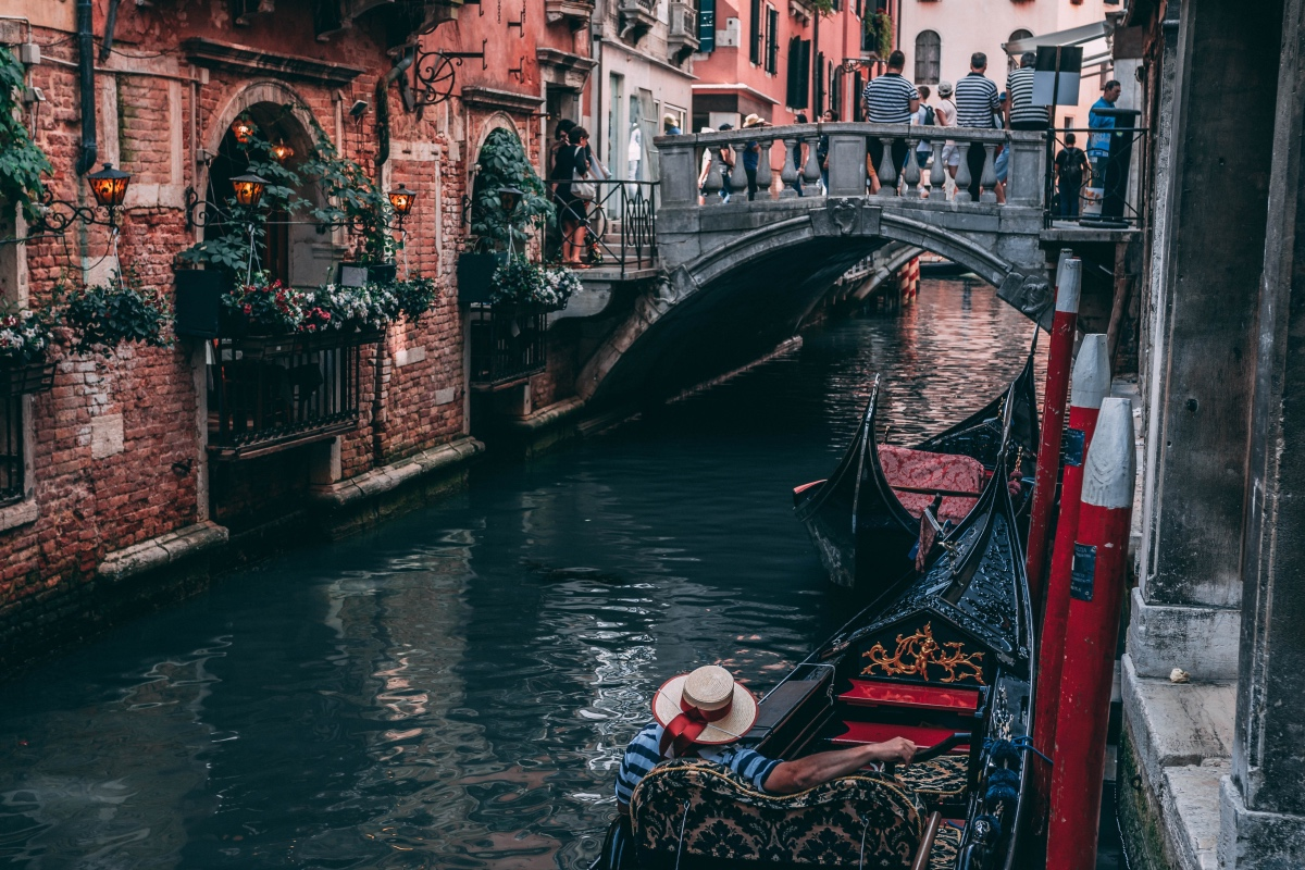 Gondola ride for couples in Venice. Romance in Italy.