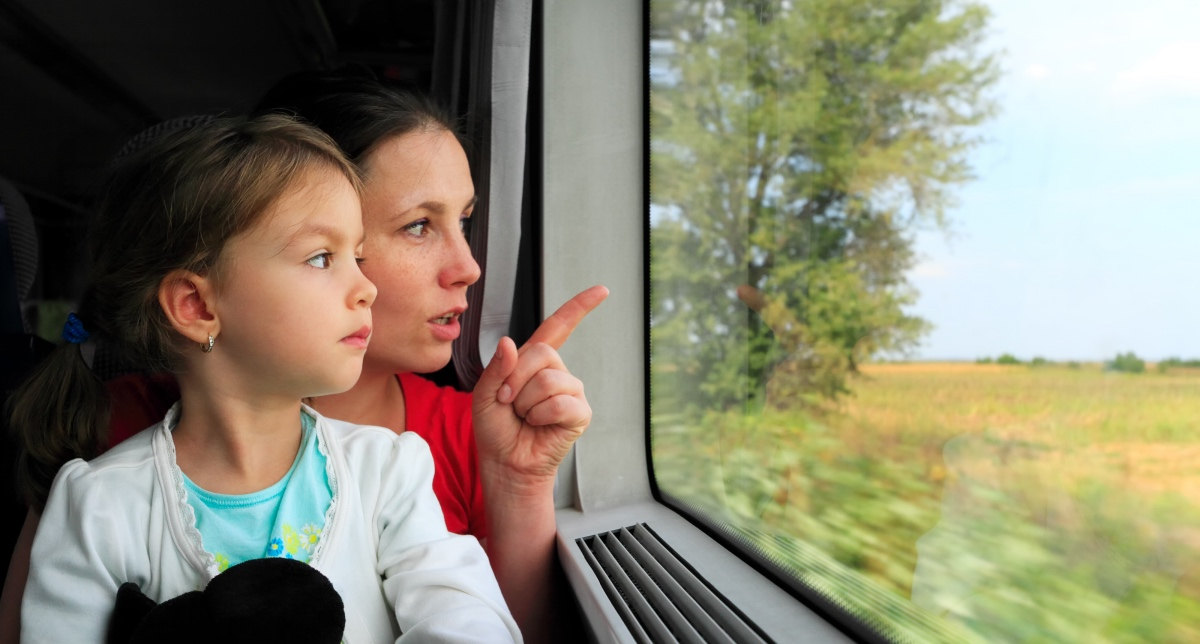 Family travelling on train. Travelling through Italy by Train.