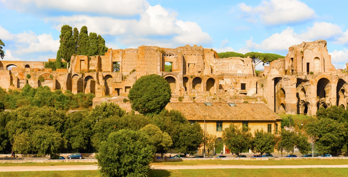 Palatine Hill, Rome. Seven hills of Rome.
