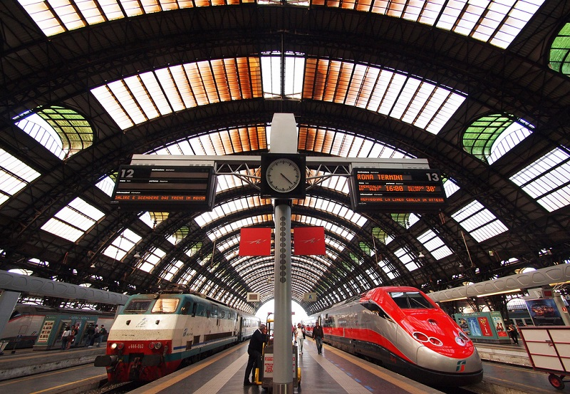 Trains in Milan Central Station, Italy
