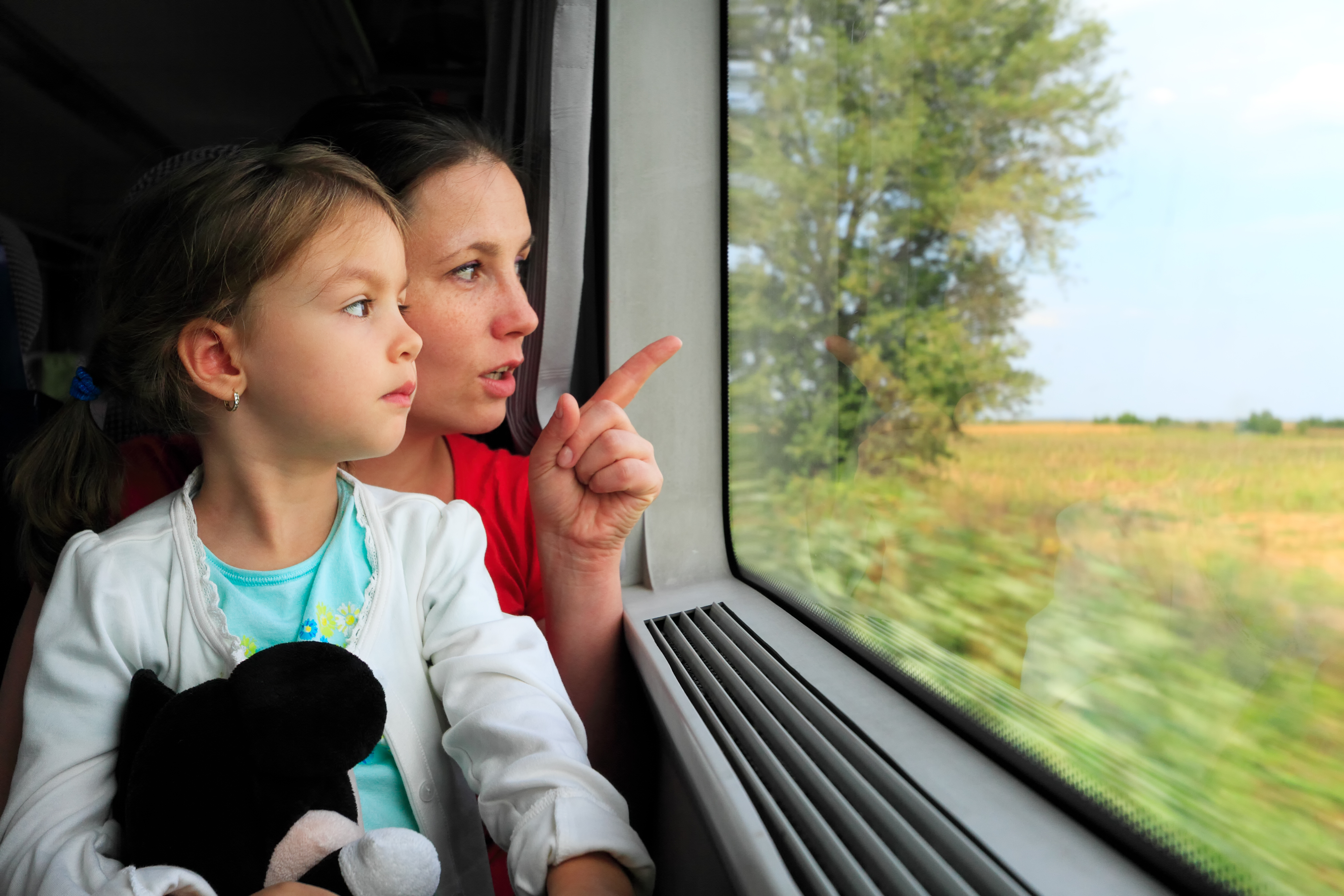 Parent and Child on Train
