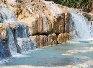Saturnia hot springs, Cascate del Mulino. Hot springs in Italy.