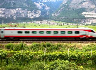 High speed train in Italy. Travelling in Italy by train.