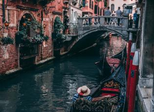 Gondola ride for couples. Gondola in Venice