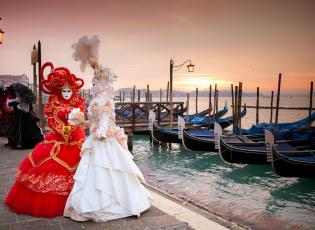 Fancy dress for venetian carnival. Traditional Venice carnival.