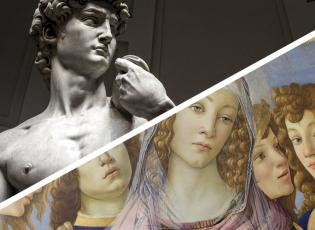 art masterpieces in Florence. Visit the Uffizi and Accademia Galleries.