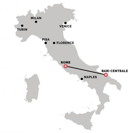 Train from Rome to Bari Centrale