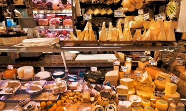 Emilia Romagna meats and cheeses. Italian meat and cheese market.