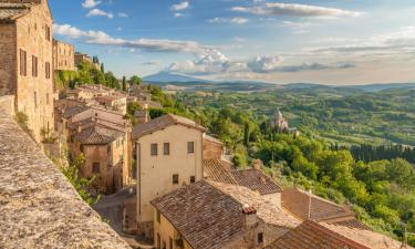 View of the city and tuscan landscape of Montepulciano. Places to see while visiting Rome and Florence.