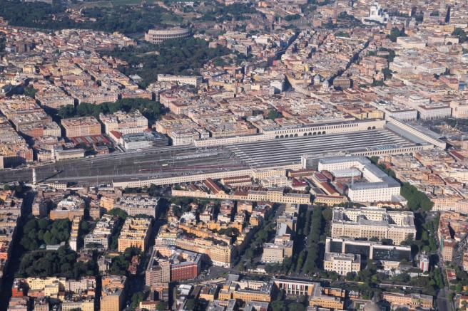 Rome's Termini Train Station aerial view.